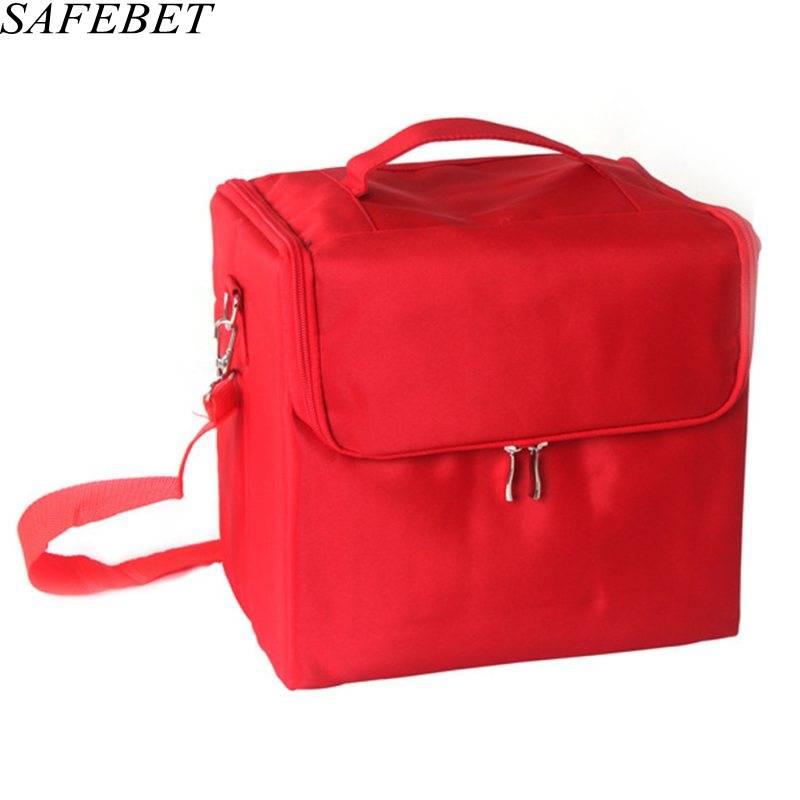 SAFEBET Brand Women Makeup Organizer Large Capacity Multilayer Clapboard Professional Cosmetic Bag Case Beauty Salon Tool Bin<br>