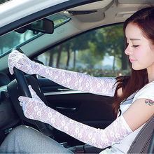 Sexy Women Summer Lace Sun Block UV Protection Driving Long Gloves Mittens Anti-skid Lace Arm Gloves