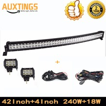 "FREE SHIPPING curved led light bar 40""42""inch 240W watt COMBO curved led light bar and 2PCS 4""18W Spot 4X4 LIGHTBAR WITH WIRING"