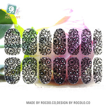 Rocooart Y5405 2016 New Transparent Black Full Lace Design Adhesive Nail Art Stickers Colorful Rinestones Decor Nail Wraps Decal