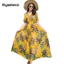 Buy Ryseleco Brand New Holiday Beach Bohemian Chiffon Maxi Dresses Women Cold Beading Shoulder Sweet Print Long Casual Vestidos for $19.79 in AliExpress store