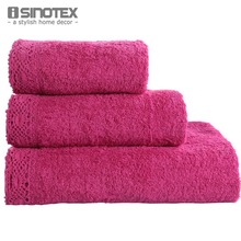 3pcs/lot Towel Set Lace Border Embroidery 100% Cotton Handkerchief+Face Cloth+Bath Towels Wholesale Terry For Adults(China)