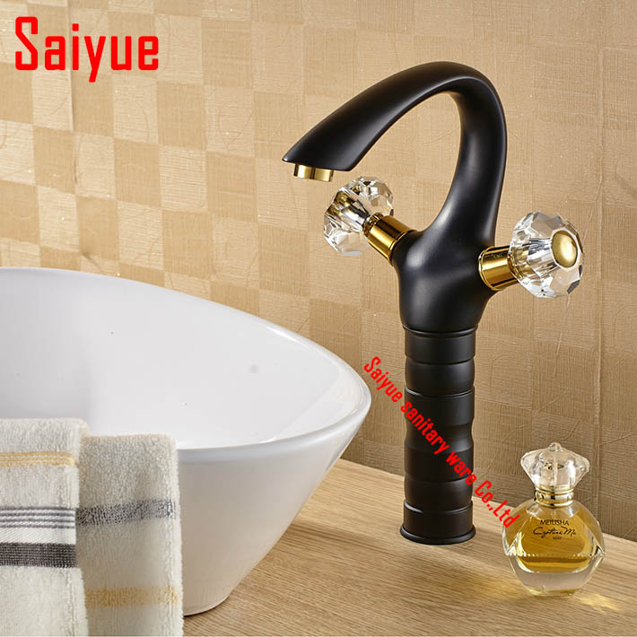 Retro high black painting bathroom sink faucet dual crystal handle single hole basin mixer  lavatory  tap deck mounted<br><br>Aliexpress