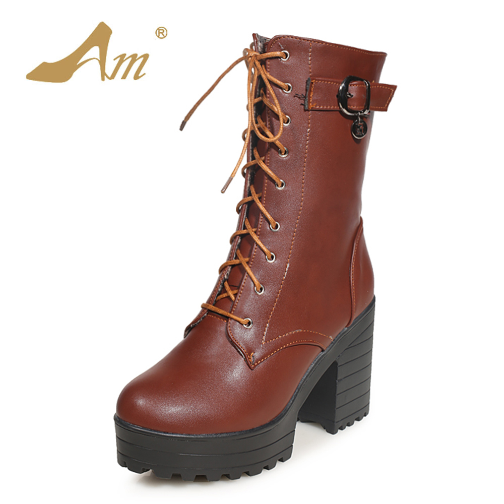 AME Women Mid Calf Snow Boots with Buckle Decoration Fashion Woman Lace up Supper High Boots for Girl Ladies<br>