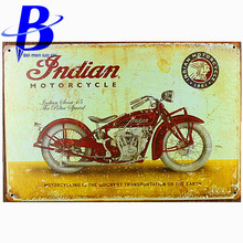 "Metal Sign Vintage Car ""INDIAN MOTORCYCLE"" Vintage Metal Tin Signs Retro Tin Plate Sign Wall Decoration for Cafe Bar Shop"
