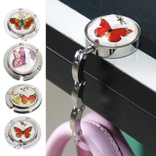 Foldable Metal Butterfly Purse Bag Hanger Handbag Table Hook(China)
