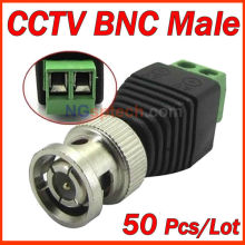Coax CAT5 to Camera CCTV BNC M Video Balun Connector, DC connector 50pcs/lot