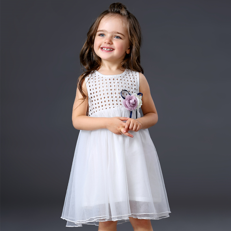 Fashion Summer Baby Girl Clothes Girls White Tulle Dress 2017 Kids Dresses For Girls Flower Korean Girl Dress vestido infantil <br>