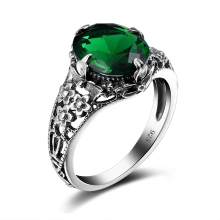Szjinao 925 Sterling Silver Ring Round Created Emerald Female Marriage Rings Fashion Vintage lighter Party Ring Christmas Gifts