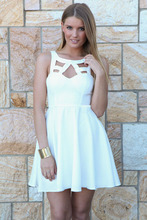 hot New 2015 Summer Party Dress Women fashion Novelty Dresses White Butterfly Lace Sexy Cutout Skater Dress LC22063