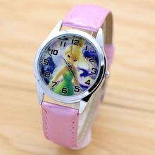 women children pretty Tinkerbell PRINCESS Girl cartoon lovely watch Best fashion casual simple quartz round leather watch(China)