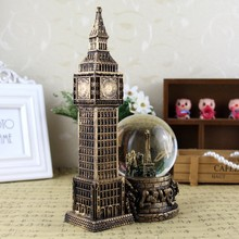 Retro Architecture London Clock Decorations Crystal Ball Decoration Resin Craft Gift Teacher Day Gift(China)