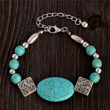 H:HYDE Nice Shipping New Arrivals Vintage Bohemia Style Silver Color Chain Natural Stone Bracelet For Wholesale