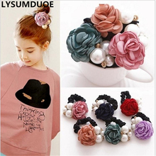 LYSUMDUOE Fashion Elastic Hair Bands Pearl Flower Headband Solid Accessories Plastic Bow Ring Ornaments For Women Girls Jewelry