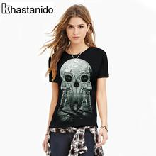2017 Space Skull 3d Printed O-Neck T Shirt Women Short Sleeve Plus Size Tee Shirt Casual Black Tops Punk Couple Clothes Roupas