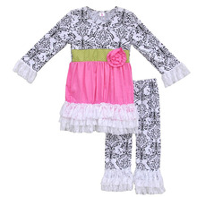 Girl Spring Clothes Party Dresses Vintage Print Lace Ruffle Legging Flower Tunic Kids Boutique Outfit Children Clothing Set F020