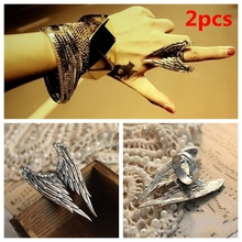 2pcs 2016 new hot sale fashion big vintage punk steampunk angel wing ring women men retro silver plated bijoux best friends gift