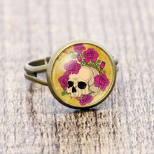 Vintage Skull Head Rose Flower Picture Glass Cabochon Adjustable Rings For Women Handmade DIY Alloy Ring Jewelry 12mm Best Gifts