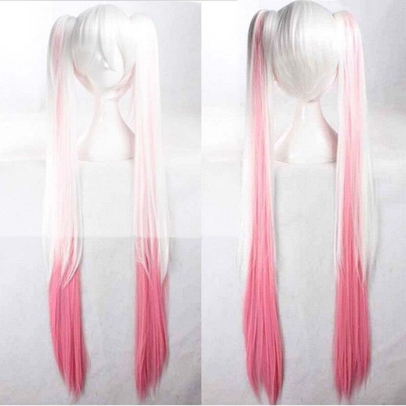 023D-1VOCALOID Sakura Hatsune Miku Pink mix White Long Ponytails Cosplay Wig 120cm