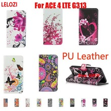 LELOZI Painted PU Leather Lather Book Wallet Wallt Women Case For Samsung Galaxy ACE 4 LTE G313 Plum Gray Abstract Pretty(China)