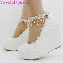 White lace wedges pumps shoes for women elegant heels fashion string bead platform wedges shoes wedding heels for women 2017