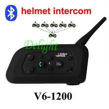 1Pcs New V6 Helmet Intercom Motorcycle Bluetooth Interphone Headset walkie talkie 1200M Helmet Communicator Capacete for 6 Rider(China)