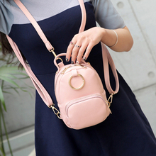 2017 Sweet candy color Mini Pu Leather Backpack Women Retro Pink backpacks Bags Womens small Ring back pack multifunctional bag