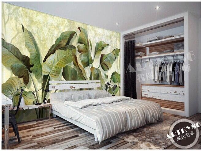 Custom 3D mural wallpaper fresh green banana leaves for the living room TV wall vinyl wallpaper, Papel de parede<br>