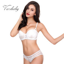 Buy Varsbaby sexy push solid lingerie women Floral lace bra panty sets
