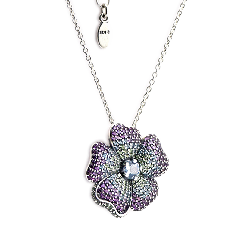 Glorious Bloom Pendant and Necklaces 100% 925 Sterling Silver Jewelry Free Shipping