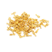 100pcs 4.8mm/6.3mm Female Crimp Terminal Connector Gold Brass Car Speaker Electric Wire Connectors Set(China)