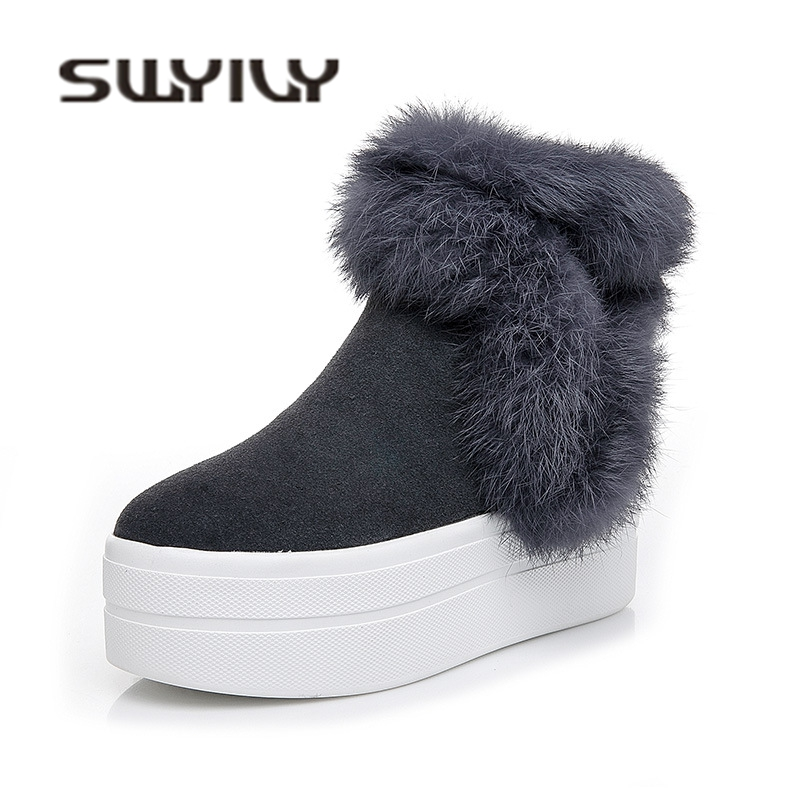 SWYIVY Luxury Rabbit Fur Snow Boots Woman Platform 2018 Winter Autumn Genuine Leather Female Casual Warm Shoes Slip On Snow Boot
