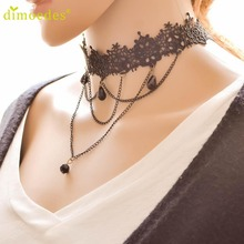 Diomedes Gussy Life wholesale Hot Women's Fashion Necklace Black Lace Collar Choker Statement Bib Pendant Feb10(China)