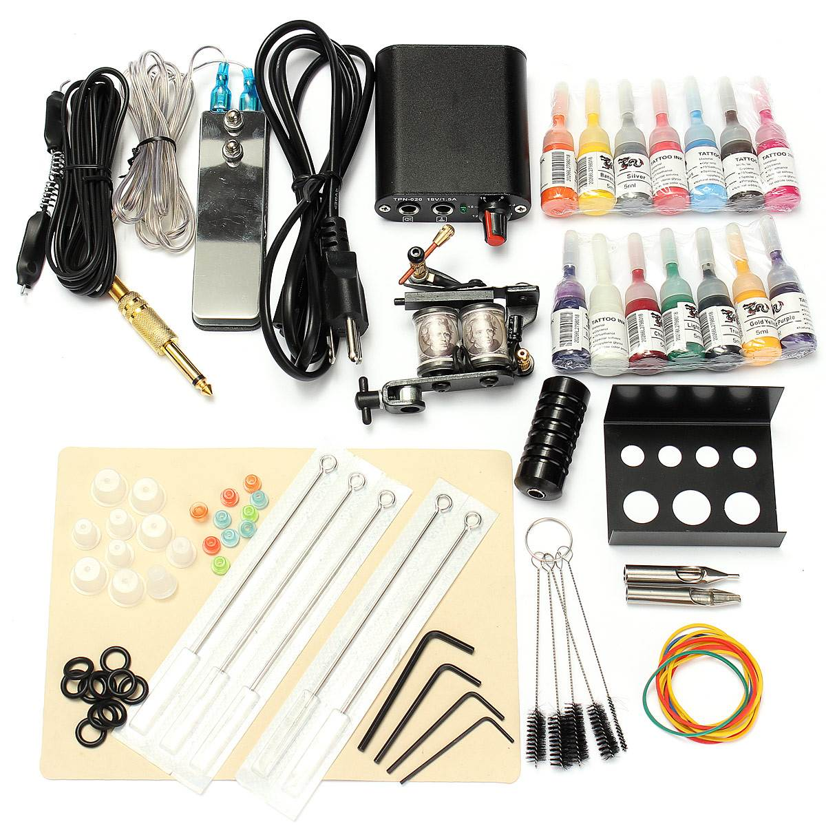 1 Set 90-264V Complete Equipment Tattoo Machine Gun 14 Color Inks Power Supply Cord Kit Body Beauty DIY Tools<br>