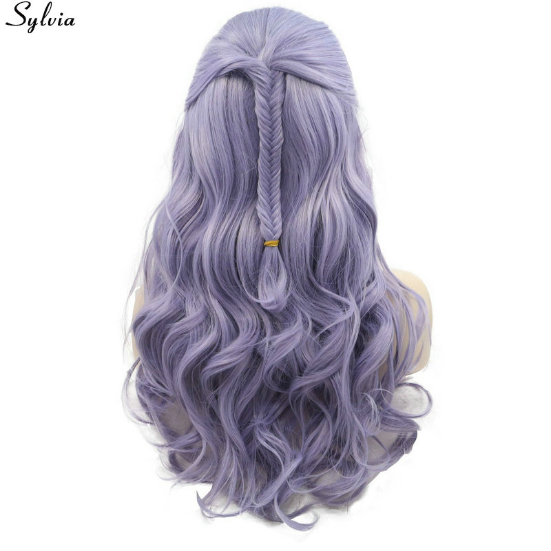 Pastel Lilac Purple Lavender Lace Front Wig Synthetic with Fishtail Braids Natural Long Wavy Wigs Glueless Heat Resistant Sylvia (2)