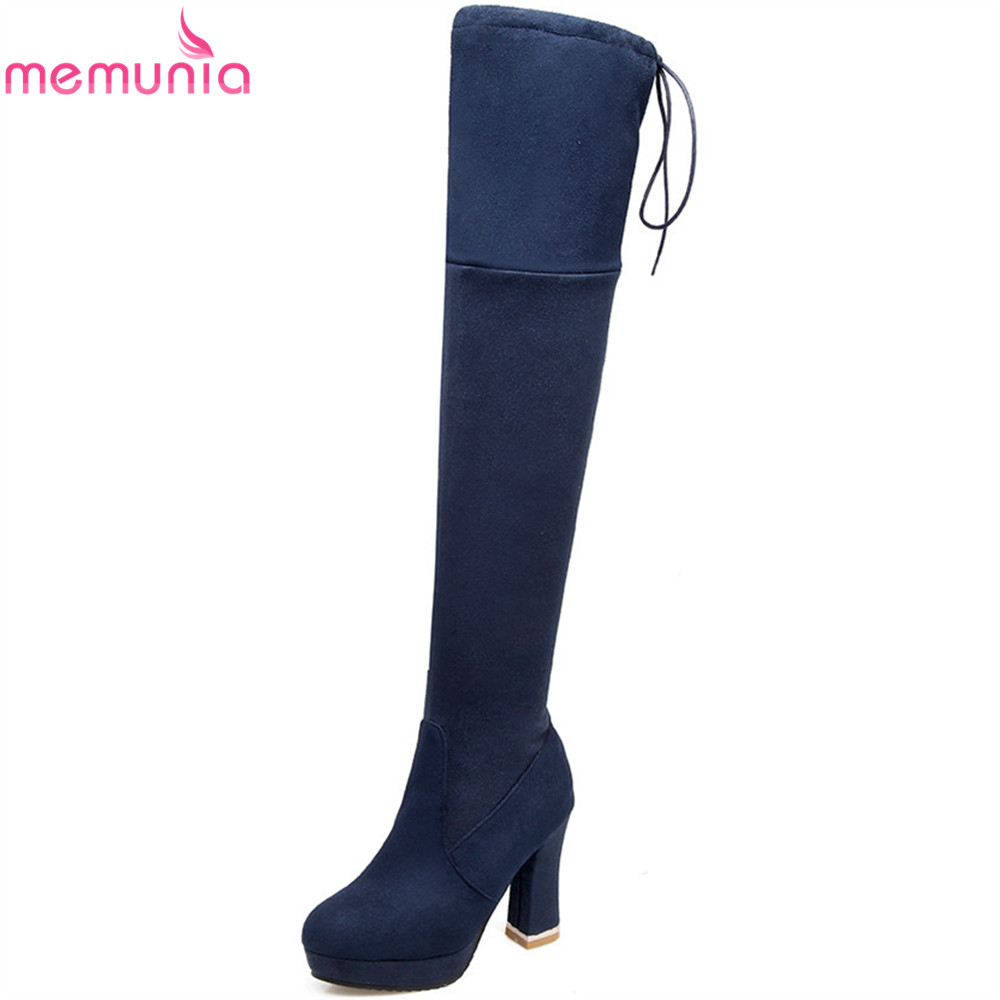 MEMUNIA plus size 34-47 women boots fashion black wine red zipper ladies boots flock autumn winter over the knee boots<br>