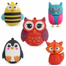 free delivery cute penguin owl fox pen drive cartoon usb flash drive pendrive  2017 The usb flash drive 4GB/8GB/16GB/32GB gift