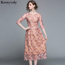 Spring Long Floral Embroidered Dress Womens Dresses New Arrival 2019 Vestido  Longo Maxi Party Dress Robe Longue Femme K6168 bf62acea236a