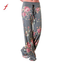 Women Floral Prints Drawstring Wide Leg Pants Leggings harem pants women pants pantalon femme ete palazzo pants pantalon femme(China)