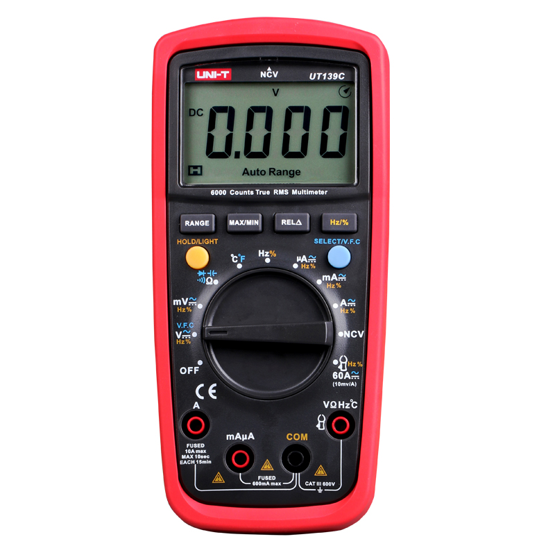 UNI-T UT139C Digital MultimeterTrue RMS Meter Handheld Tester 6000 Count  Auto Range  Voltmeter Temperature Test Free Shipping<br>