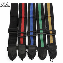 5 Colors 120cm Adjustable Soft Durable Nylon Classic Guitar Electric Acoustic Bass Guitar Strap Belt with PU Leather Ends