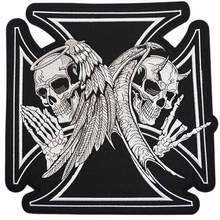 "11.5"" XL Large ANGEL N DEVIL SKULL BLACK CROSS LARGE MC PATCHES for Clothing BIKER LEATHER JACKET BACK Skeleton Black White"