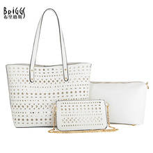 BRIGGS Brand 3 Bags Per Set Women Hollow Out Handbags Designer High Quality Tote Bag Messenger Bags Fashion Women Shoulder Bags(China)