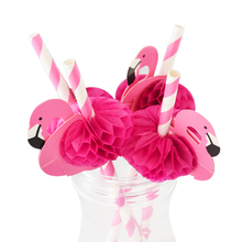 10pcs Flamingo Paper Drinking Straws Wedding Decoration Baby Shower Birthday Celebration Hawaii Carnival Party Supplies(China)