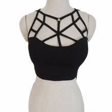black/white Cool Harajuku Style Cross Cut Out Bralet Spandex Bustier Bra Crop Top Women's Tank Vest 2016 Fashion