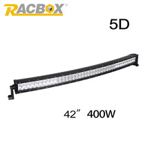 RACBOX 5D 42inch 400W LED Work Light Bar Combo Curved Offroad LED Working Lamp Drive 12V 6000K For Truck Tractor ATV SUV Boat