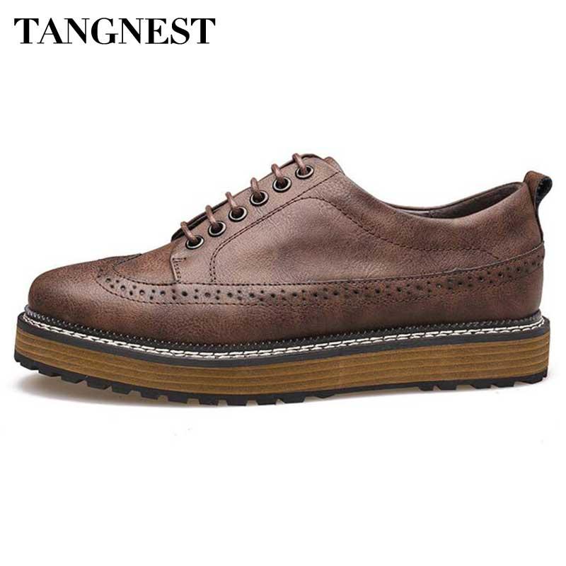 Tangnest Brand Brogue Shoes Men 2017 British Style Split Leather Shoes Man Fashion Cut-out Platform Flats Man Dress Shoe XMR2451<br>