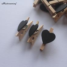 Set of 25 pcs Black Heart Clothes Peg Wooden Craft For Shabby Chic Vintage Wedding Baby Shower Girls Photo Wall Mini Clothespins