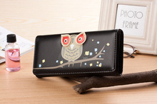 2107 New Arrival Fashion Owl Wallet PU Leather Purse Holder Long Cartoon Purses Lovely Women Wallets M008