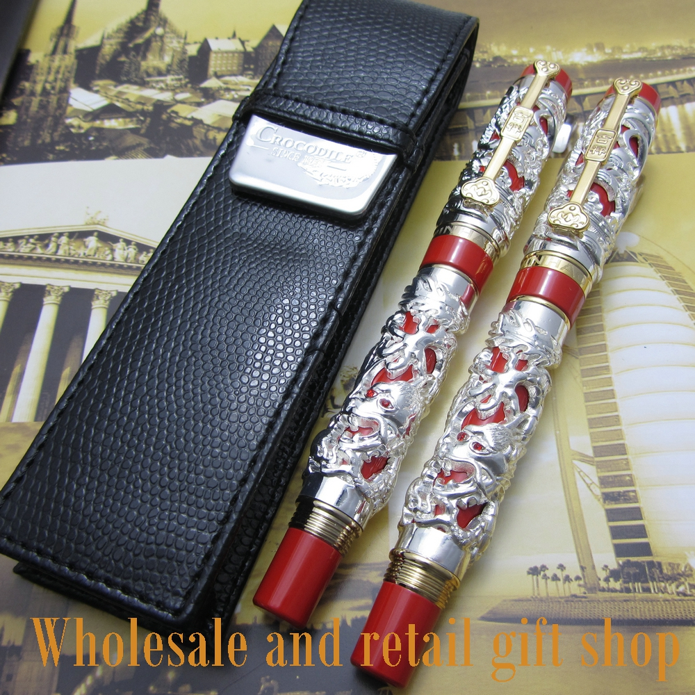 2pcs pen Jinhao Long Feng heavy silver red Chinese classical luck clip and pen bag free shipping <br>